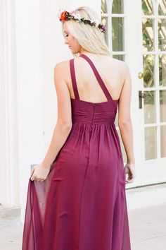 One Shoulder Long Plum Bridesmaid Dress Party Dress Plum Bridesmaid Dresses, Prom Dresses, Graduation Dresses, Formal Dresses, Look Thinner, Dress Party, Looks Great, Ball Gowns, Fashion Dresses