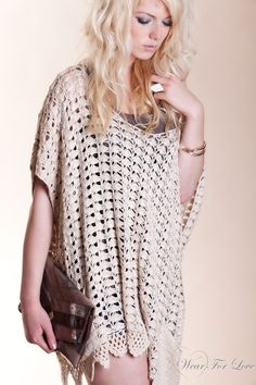 crochet ponchos -༺✿Ƭ