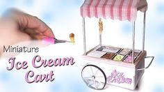 Miniature Ice Cream Cart Tutorial - Dolls/Dollhouse www.dk - Funky Olive Shop - Miniature Ice Cream Cart Tutorial - Dolls/Dollhouse www.dk Miniature Ice Cream Cart Tutorial - Dolls/Dollhouse www. Miniature Crafts, Miniature Food, Miniature Dolls, Doll Crafts, Diy Doll, Polymer Clay Miniatures, Dollhouse Miniatures, Milk Bottle Holder, Ice Cream Cart
