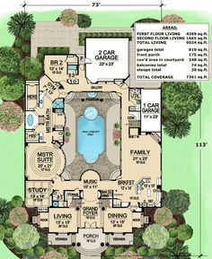 This luxury house plan features a large central courtyard. Pictured below with a pool, it can be viewed from nearly every room in the home. The grand foyer features a dramatic staircase. Matching rooms flank the foyer and have 20' ceilings. The master suite has a circular feature with windows looking onto the courtyard. A gym area at the end of the spacious master bath is a nice plus. A spacious family has a very open feel. An angled door by the Kitchen leads to the courtyard, a great spot…