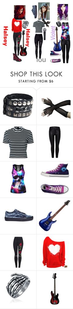 """""""Anti-society/ Halsey, Bass. Lou, vocals. Violent, guitar"""" by halsey-iero ❤ liked on Polyvore featuring T By Alexander Wang, WithChic, Converse, Vans and Bling Jewelry"""