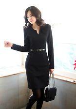 Las mujeres elegantes de estilo de negocios con cuello en V sólido Manga Larga Vestido Corto Elegante Nuevo