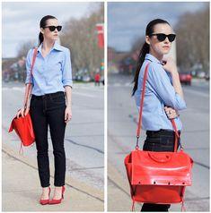 Style Inspiration: Blue Blassic >> Nine West Shoes, Joe Fresh Jeans, 3.1 Phillip Lim Bag