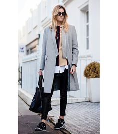 @Who What Wear - Camille Charriere of Camille Over The Rainbow  Boyfriend Coat + Sweater + Button-Down Shirt