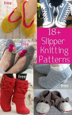 Slipper Knitting Patterns, many free patterns for slippers, slipper socks, slipper boots