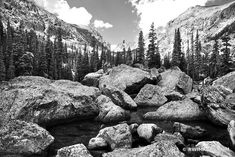 BOULDERS NEAR LAKE HAIYAHA ROCKY MOUNTAIN NATIONAL PARK COLORADO BLACK AND WHITE Framing Photography, White Photography, Fine Art Photography, Landscape Photography, Canvas Pictures, Pictures Images, Print Pictures, Rocky Mountains Colorado, Mountain Drawing