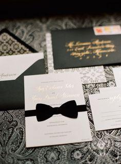 A black tie invitation suite for a black tie wedding! Genius. Photo: Liz Banfield