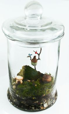 A snapshot of one of our table top miniature fairy garden terrariums.