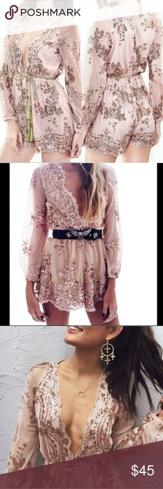 Rose gold sequin romper jumpsuit Rose gold or champagne sequin romper. Size xl. I would say fits a smaller 12, a 10 or 8 best. Beautiful piece. I was just a little too big for it sadly. Comes with gold rope belt. Has only been tried on Pants Jumpsuits & Rompers