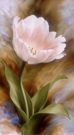 Floral art painting of a pretty pink tulip - artist? Arte Floral, Watercolor Flowers, Watercolor Paintings, Watercolours, China Painting, Tulip Painting, Oil Painting Flowers, Light Painting, Beautiful Paintings