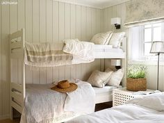 AFTER: The room looks brand new with its bright walls and delicate fabrics., AFTER: The room looks brand new with its bright walls and delicate fabrics. The old bunk bed is also painted. The bunk bed has the color Lady Supreme . Cottage Style Bedrooms, Cottage Interiors, Murs Clairs, Hamptons Living Room, Swedish Decor, Bunk Rooms, Bunk Beds, Bright Walls, Dream House Interior