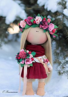 Love doll Fabric doll Tilda doll pink red от AnnKirillartPlace