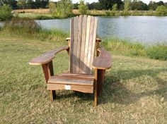 Mixed pine and oak barn wood adirondack chair. Beautiful red, white, and gray colors well worn into the wood.