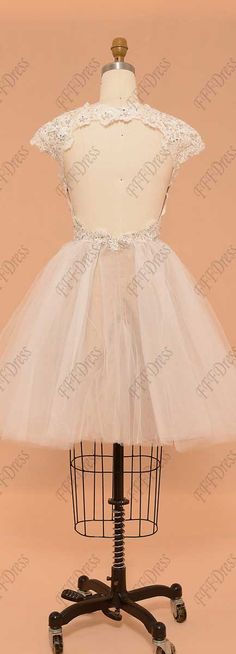 92f4885483 Backless short prom dresses cap sleeves champagne white prom dresses with  sparkly sequins and beads ball. MyPromDress