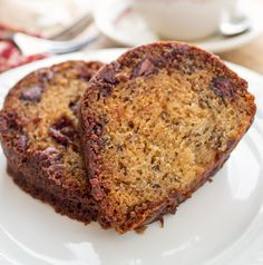 Banana Chocolate Chip Cake - a moist, cake filled with banana flavor, chocolate chips and browned butter.  Exquisite, that's the only way to describe it.