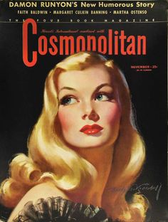 Veronica Lake, as depicted by Bradshaw Crandell for the cover of COSMOPOLITAN magazine, November 1941 issue. Old Magazines, Vintage Magazines, Vintage Books, Vintage Advertisements, Vintage Ads, Vintage Images, Comics Vintage, Magazin Covers, Veronica Lake