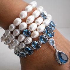 Купить LADY BLUE EYES Браслет (СерьгиКольцо) с барочным жемчугом родий - голубой, ювелирные украшения