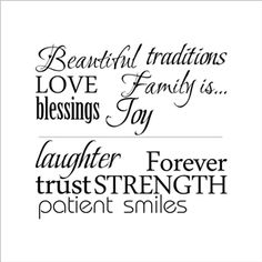 Family is Beautiful English Word Children Room Bedroom Living Room Entrance Kitchen Black PVC Plane Wall Stickers