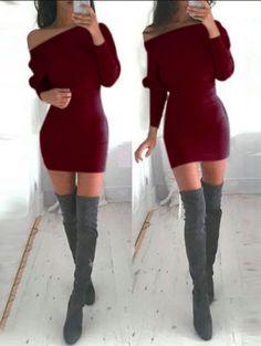 Boat Neck Bodycon Sweater Dress