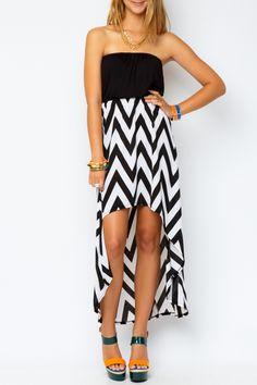 Chevron high low dress