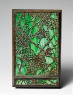 Note Pad Holder designed by Louis Comfort Tiffany, Favrile glass, bronze, wood, ca. 1910–20