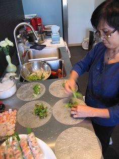 Mom making goi cuon (summer rolls).