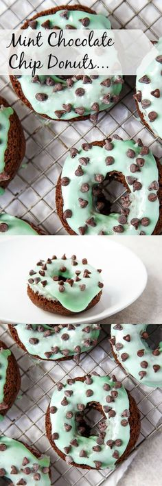 Rustic Home Decor Mint Chocolate Chip Doughnuts! Makes half a dozen baked chocolate donuts. Im here with soft, fluffy chocolate baked donuts topped with a zippy mint frosting # Delicious Donuts, Delicious Desserts, Yummy Food, Slow Cooker Desserts, Chocolate Donuts, Mint Chocolate Chips, Baking Chocolate, Chocolate Desserts, Köstliche Desserts