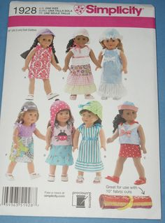 New Simplicity 18' doll Clothes Pattern 1928 OS by jrsherwood, $3.95