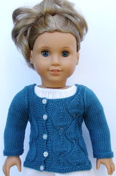 Eva Cardigan knitting pattern for 18 inch American Girl dolls