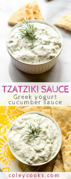This easy video tutorial shows you how to make the classic Greek yogurt sauce called Tzatziki! It's great serves as a dip with pita and veggies or slathered on a gyro. Tzatziki Sauce Recipe Greek Yogurt, Cucumber Yogurt Sauce, Greek Yogurt Recipes, Easy Greek Recipe, Cucumber Salad, Vegetarian Greek Recipes, Greek Yogurt Dips, Vegan Tzatziki, Sauces