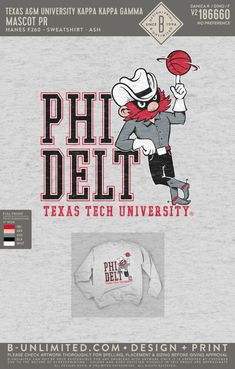 Texas Tech Phi Delta Theta Mascot Sweatshirt | Fraternity Event | Greek Event #phideltatheta #phidelt Phi Delta Theta, Pi Shirt, Texas Tech, Greek Clothing, Fraternity, Shirt Ideas, Sweatshirts, Greek Outfits, Trainers