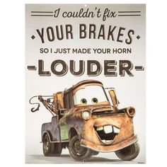 Tow-Mater Brakes Cars Embossed Tin Sign⎜Open Road Brands