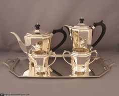 Art Deco Sterling Silver Tea Set at J.H.Tee Antique Silver