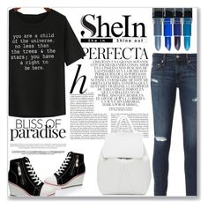 """""""Black Letters Print T-Shirt"""" by emerald-writer-girl ❤ liked on Polyvore featuring Whiteley, AG Adriano Goldschmied, WithChic and Mansur Gavriel"""