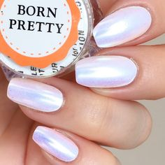 Elegant unicorn chrome powder nail design review from our bornprettystore. customer @@hanninator