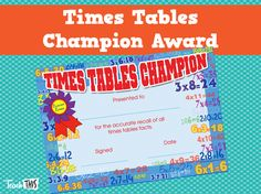 Times Tables Champion Award