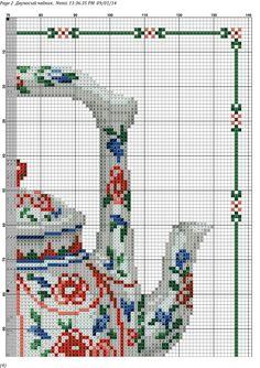 Cross Stitch Borders, Counted Cross Stitch Patterns, Cross Stitching, Cross Stitch Embroidery, Hand Embroidery, Cross Stitch Christmas Stockings, Cross Stitch Kitchen, Cute Cups, Needlepoint