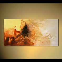"""Original Contemporary Modern Abstract Rust Yellow Cream White Acrylic Painting on Canvas by Osnat - MADE-TO-ORDER - 48""""x24"""""""