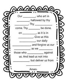 first grade ccd coloring pages | Prayer Worksheets from Little Miss Catechist! Great for ...