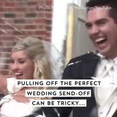 Watch this video for hilarious wedding send-off fails.