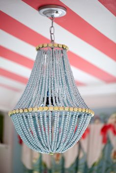DIY Wood Bead Chandelier and 16 Beaded Chandelier Tutorials! Origami Lamps, Striped Ceiling, Pink Ceiling, Wood Bead Chandelier, Chandelier Ideas, Empire Chandelier, Ceiling Chandelier, Beach Chandelier, Chandelier Planter