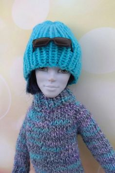 Monster High boy clothes. Hand-knitted melange blue sweater | Etsy Monster High Boys, Monster High Doll Clothes, Boy Doll, Custom Dolls, Blue Sweaters, Boy Outfits, Happy Shopping, Hand Knitting, Pullover