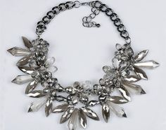Crystal Glass Necklace Cystal Flower by costumejewelrystore, $25.80