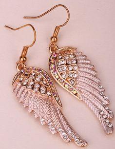 Angel Wings Dangle Earrings Antique Gold Silver Plated W Crystal Biker Bling Jewelry