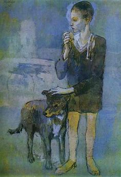 Boy with Dog (1905) Pastel and Gouache on cardboard picasso pastel paintings - Google Search
