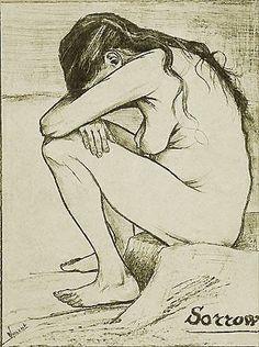 """""""Dolore"""" (Clasina Maria Hoornik  detta Sien), litografia, 1882 - Van Gogh.  """"La vita ha ferito Sien, la sofferenza e le avversità l'hanno segnata. […] Quando la terra non viene messa alla prova, non ne si può ottenere nulla. Lei, lei è stata messa alla prova; di conseguenza trovo più in lei che in tutto un insieme di donne che non siano state messe alla prova dalla vita"""". Tratto da una lettera destinata all'artista olandese A. Van Rappard."""
