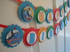 Thomas the Train Happy Birthday Banner Train Party See also cupcake toppers and party favor tags Percy James. $20.00, via Etsy.