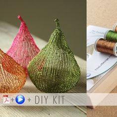 A unique jewelry making kit in Yoola's wire crochet invisible spool knitting technique. with the kit you will learn how to wire crochet chic pears to decorate your home or give as unique handmade gifts . Craft Kits, Diy Kits, Primitive Christmas Crafts, Christmas Decor, Spool Knitting, Wire Crochet, Crochet Hooks, Crochet Hook Sizes, Crochet For Beginners