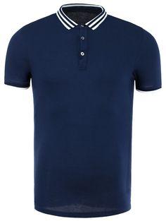 $18.73 Cotton Blends Stripe Splicing Design Polo Collar Short Sleeve T-Shirt