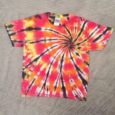 Kids Tie-Dye T-Shirt Youth Small Colorful Kids Shirt Bright
